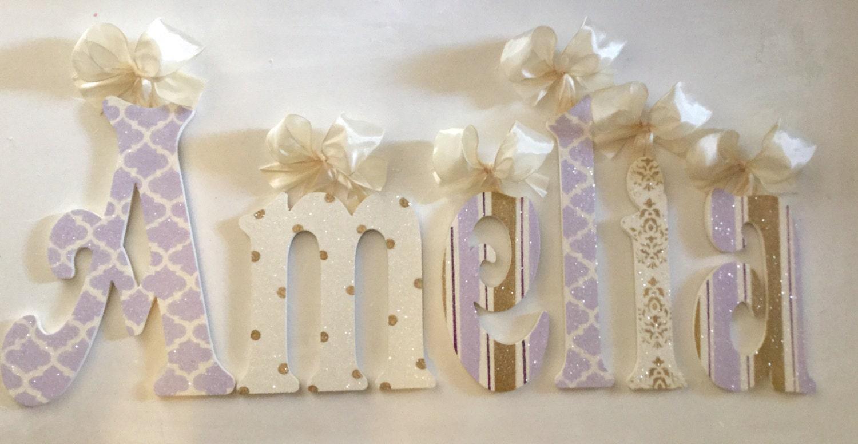 wall decor glittered lavender gold cream wall letters wooden letters wall letters wooden name letters wooden sign wall hanging room decor