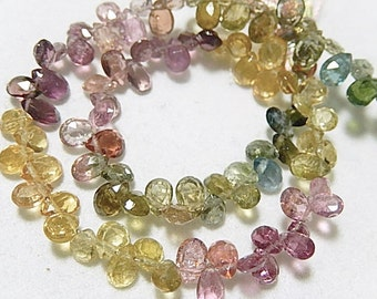 Watermelon Tourmaline Gemstone, Faceted Pear Briolette. 5mm,  Semi Precious Gemstone. 4 Briolettes. (75tml2)