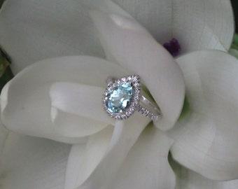 Aquamarine and Diamond Grace Engagement Ring, OOAK Handforged White Gold Ring, Alternative E Ring, Ready to Ship
