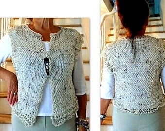 KNITTING PATTERN, SHRUG- Instant download pattern - Size S to 3XL, Light open weave airy knitted shrug - #822 - Easy Summer shrug vest