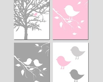 Pink and Grey Nursery Wall Art Bird Nursery Art Baby Birds Tree Nursery Decor Quad - Set of Four 8x10 Prints - CHOOSE YOUR COLORS