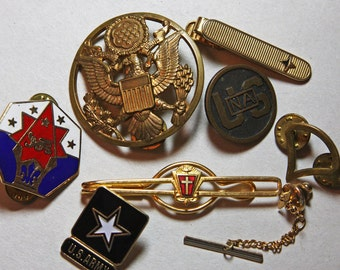 MILITARY Collection- Brass Eagle- Tie Clips- US Lapel Pins- Soldier War Memorabilia- Army- Armed Forces