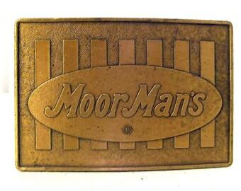 Vintage MoorMans Feed Belt Buckle Cow Cattle Grain Farm Ranch Rancher Ag Western wear