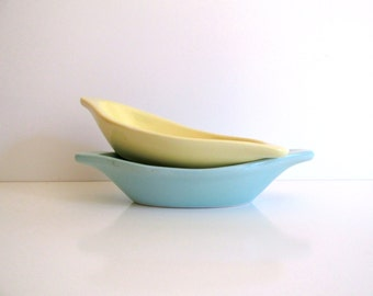 Vintage Aqua and Yellow Boat Shaped Pottery Serving Dishes Mid Century