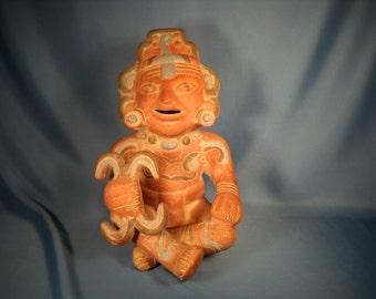 AZTEC MAYAN WARRIOR Mexico Reproduction Pottery Figure, Mexico Reproduction of Warrior Figure, Terra Cotta Reproduction of Aztec Warrior