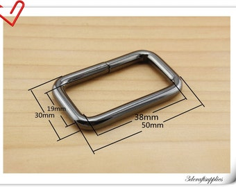 1.5 inch (inner diameter) gunmetal rectangular buckles 10pcs 5.0mm thickness U41