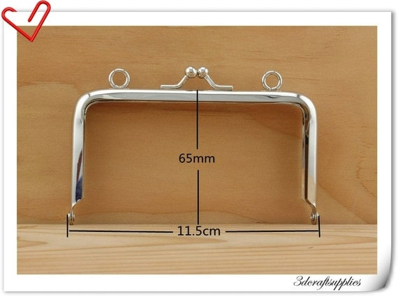 4 1/2 inch x 2 1/2  inch  Nickel purse frame  (with loops) purse making supplies B47