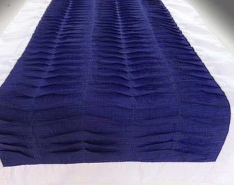 Royal Blue anf white pleated table runner. pintuck  table decor.  Custom made. 54 x14