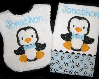 Personalized Handmade Baby Gift Set - Appliqued Penguin - Bib and Burp Cloth - Reversible - White Chenille