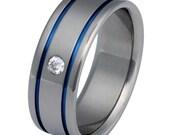 Titanium Diamond Wedding Band - s2
