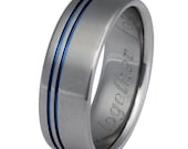 Blue Titanium Wedding Band - Blue Stripe Ring - Thin Blue Line Ring - b8