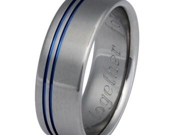 Blue Titanium Wedding Band - Blue Stripe Ring - Thin Blue Line Ring - b8