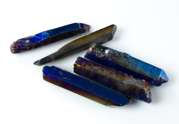 Blue Rainbow Fumed Quartz Prism Nuggets Daggers Spike Stick Beads