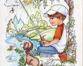 Coloring Book Pages Boy Fishing Puppy Dog Boy Decor