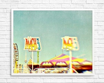 Carnival Photo, Carnival Rides, Ferris Wheel, Carousel, Dreamy, Red Yellow, Nursery Decor, Golden, Carousel, Toronto - Mach 3