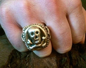 Men's Antique Bronze Skull and Crossbones Ring Custom made to order