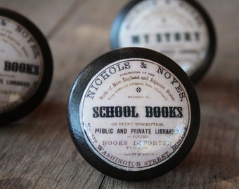"Vintage Knobs The Books Series Newest Design - ""School Books"""