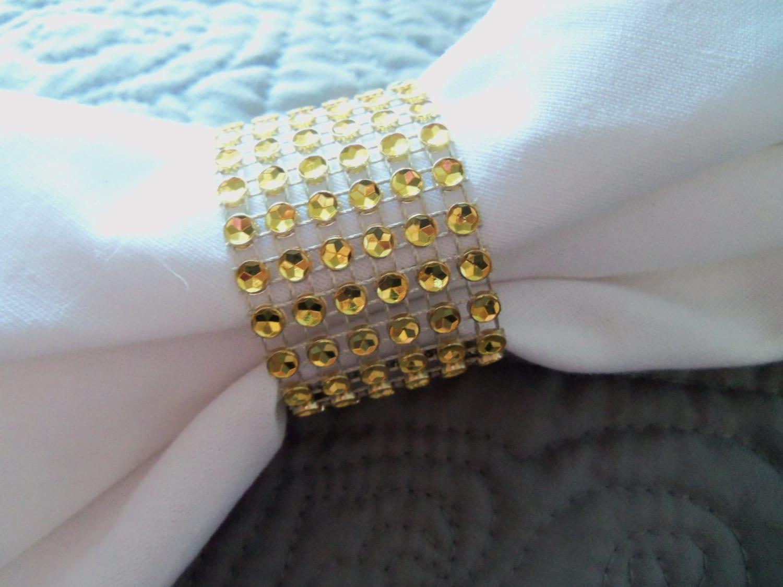 Wedding Reception Napkin Rings GOLD Rhinestone By TheBeachChick