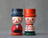 Pair of Vintage Circus Clown Egg Cups