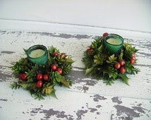 Christmas Holly Candle Wreaths / Rings ~ Plastic Gold Tinted Holly, Berries, Pine Centerpieces