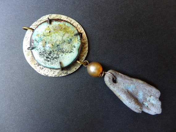 Petrichor. Rustic assemblage pendant with ceramic and torch enamel.