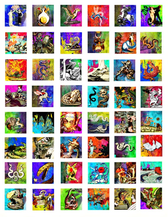 ancient dragons abstract paintings digital Download 1 inch squares Collage Sheets graphics images printables