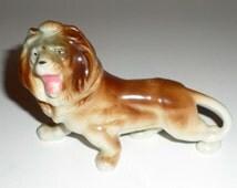 Vintage Porcelain Lion Figurine - Made In Japan - Small Lion - Lion Figurine - Roaring Lion - African Lion Figurine - Brown Lion Statue