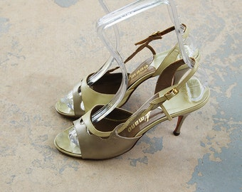vintage 50s High Heels - Strappy Iridescent Pearl Sandals 1950s Two Tone Leather Shoes Sz 7.5 8 38 39