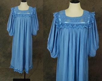 vintage 70s Gauze Tent Dress -  Boho Blue Crochet Gauze Dress 1970s Hippie Festival Dress Sz M L XL
