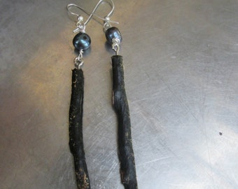 Natural Black Coral Earrings with Fresh Water Pearls Eco -hand made Jewelry- Tribal