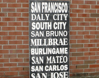 San Francisco Subway Art, Bus Roll Sign, Bus Scroll, Transit Sign, Travel or Destination Sign, Custom Subway art, SIZE 16x32 inches