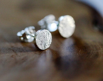 Tiny textured post earrings - sterling silver - post earrings
