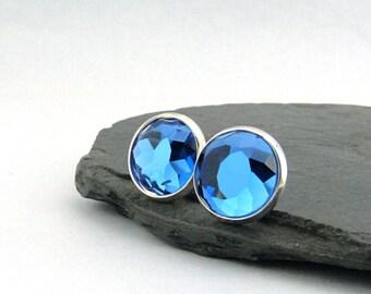 Blue Glass crystal ear studs. Lovely sparkling 12 mm glass jewels in silver plated brass settings. Festive Earrings. Nickel free. Royal Blue