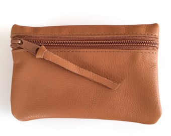 Tan Leather Small Zipper Pouch for Makeup, Credit Cards, Cash, Odds and Ends