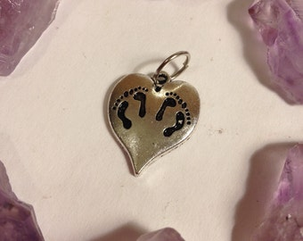 Twin Miscarriage Memories Footprints on Heart Charm, Pendant, Necklace, Babyloss, Stillbirth, Twins, multiple losses. (Mother, grief)