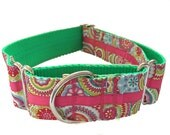 """Colorful Retro Wide Dog Collar 1.5"""" - Martingale or Buckle"""