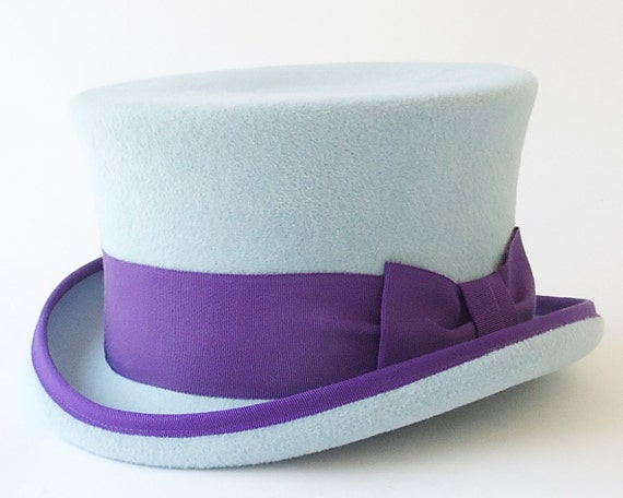 Top Hat Blue Victorian Riding Hat Stovepipe Coachmans Hat  Fall Fashion Felt Top Hat Couture Formal Hat Steampunk John Bull Hat Dressy Hat