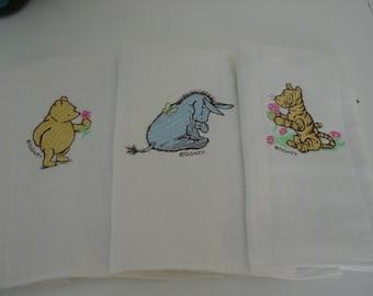 Classic Pooh burp cloths, set of 3