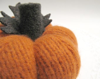 Small Deep Orange Autumn Fabric Pumpkin Handmade from Felted Wool Sweaters (no.696)