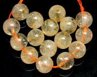 7.5mm Natural Citrine Round Beads - 16 Count