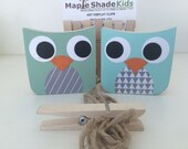 Owl Art Display Clips, Mint and Aqua, Owl Kids Decor, Woodland Nursery, Owl Decor,  eco-friendly