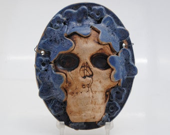 ceramic skull mask sculpture art clay face  home decor wall art small mask