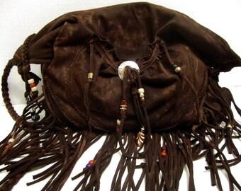 Distressed Dark Chocolate Fringe Cross Body Bag