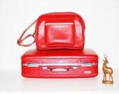 SALE:  Vintage Luggage and Messenger Bag  Bombshell Red Tiara