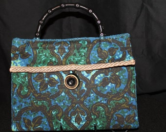 Handmade Handbag Purse Vintage Upholstery Fabric Cadiz Pattern Blue & Green