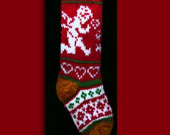 Hand knit Christmas stocking,  Personalized, made of pure wool yarn,  fully lined --  Snowflake, angel and heart