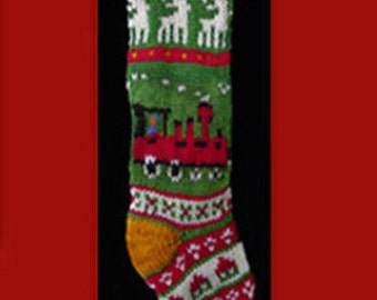 Hand knit Christmas stocking,  Personalized, made of pure wool yarn,  fully lined --Train, house and reinddeer