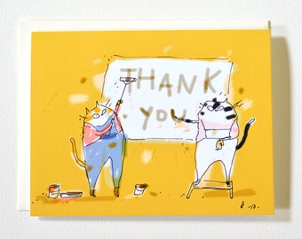 Thank You Cat Card - Sign Painters - Funny Thank You Card- Card for Artist, Art Lover, Cat Lover