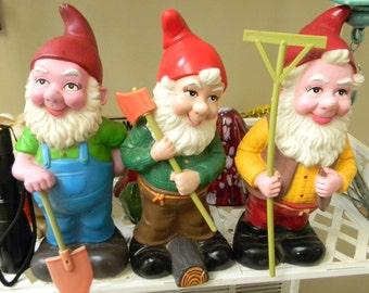 3 Vintage artline Garden Gnomes    Elf Knome   Ax Rake and shovel in hand 1992 Vinyl yard art