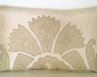 """18"""" x 12"""" Embroidered Lumbar Throw Pillow Cover Flowers Ivory Silk French Country English Victorian Shabby Chic Damask Cream Champagne"""